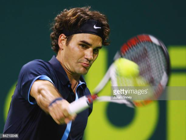 Roger Federer of Switzerland in action against Philipp Kohlschreiber of Germany during the Exxon Mobil Qatar Open Tennis on January 8 2009 in Doha...