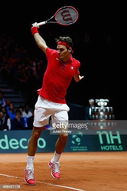 Roger Federer of Switzerland in action against Richard Gasquet of France during day three of the Davis Cup Tennis Final between France and...