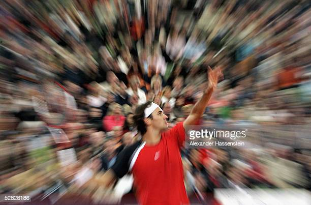 Roger Federer of Switzerland in action against Richard Gasquet of France during the final of the Masters Series Hamburg at Rothenbaum on May 15 2005...