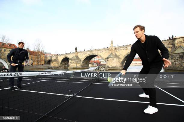 Roger Federer of Switzerland in action against Tomas Berdych of The Czech Republic in front of the Charles Bridge during the countdown to the...