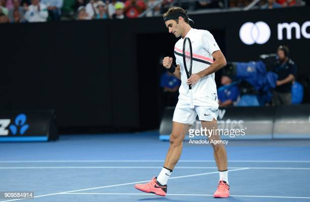 Roger Federer of Switzerland in action against Tomas Berdych of the Czech Republic on day 10 of the 2018 Australian Open at Melbourne Park on January...