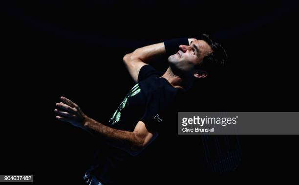 Roger Federer of Switzerland in action during a practice session ahead of the 2018 Australian Open at Melbourne Park on January 14 2018 in Melbourne...