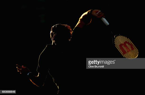 Roger Federer of Switzerland in action during a practice session on day four of the BNP Paribas Open at Indian Wells Tennis Garden on March 9, 2017...