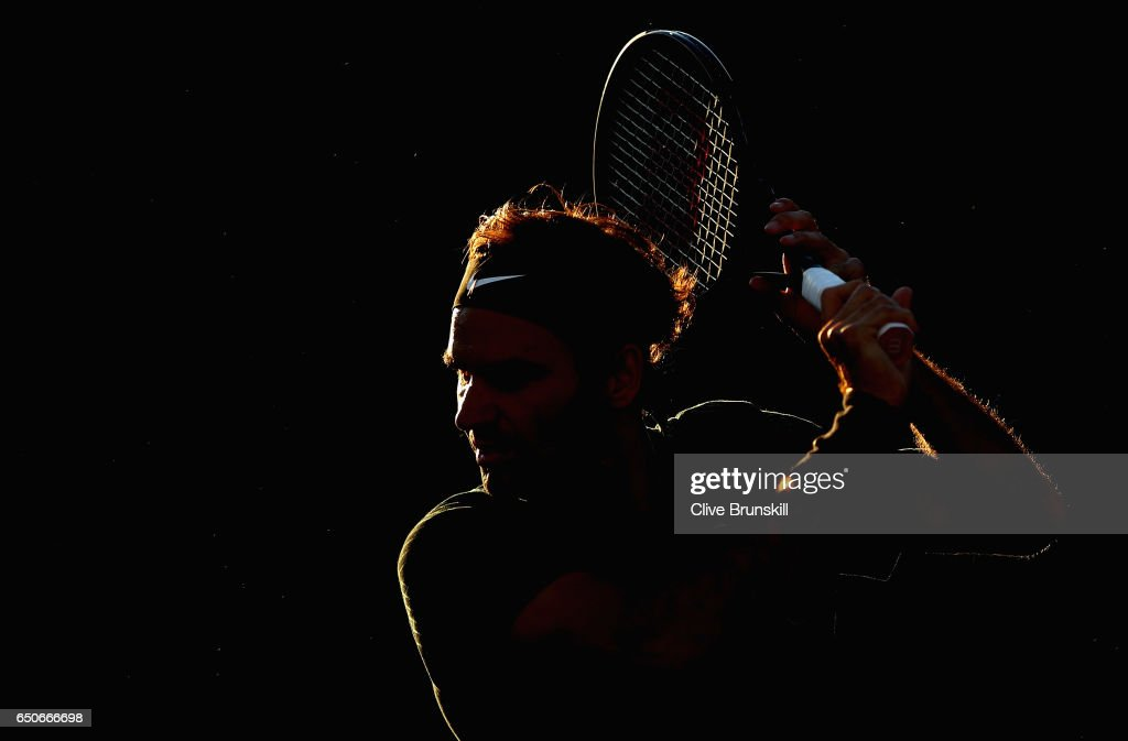 Roger Federer of Switzerland in action during a practice session on day four of the BNP Paribas Open at Indian Wells Tennis Garden on March 9, 2017 in Indian Wells, California.