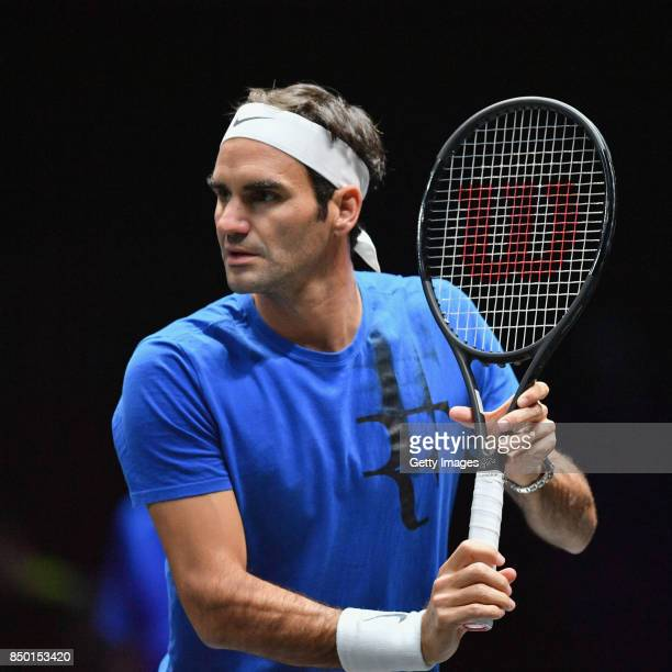 Roger Federer of Switzerland in action during a training session ahead of the Laver Cup on September 20 2017 in Prague Czech Republic The Laver Cup...