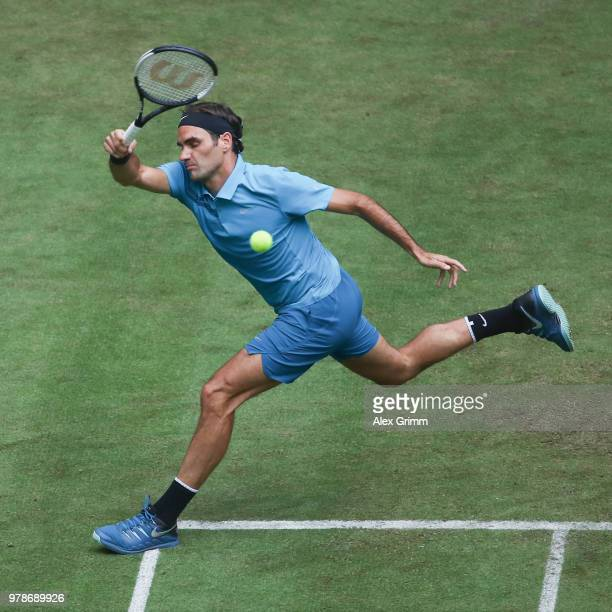 Roger Federer of Switzerland in action during his first round match against ljaz Bedene of Slovenia during day 2 of the Gerry Weber Open at Gerry...