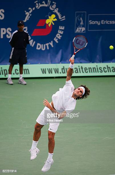 Roger Federer of Switzerland in action during his first round victory over Ivo Minar of Czech Republic in the Dubai Duty Free Men's Open Tennis...