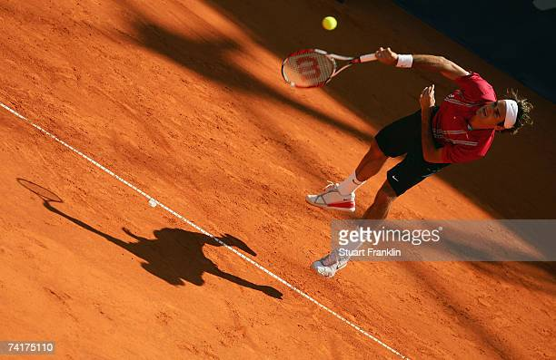 Roger Federer of Switzerland in action during his match against Juan Carlos Ferrero of Spain during day four of the Tennis Masters Series Hamburg at...