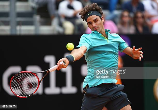 Roger Federer of Switzerland in action during his match against Tomas Berdych of Czech Republic on Day Six of the The Internazionali BNL d'Italia...