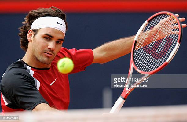 Roger Federer of Switzerland in action during his match against Tommy Robredo of Spain during the Masters Series Hamburg at Rothenbaum on May 12 2005...