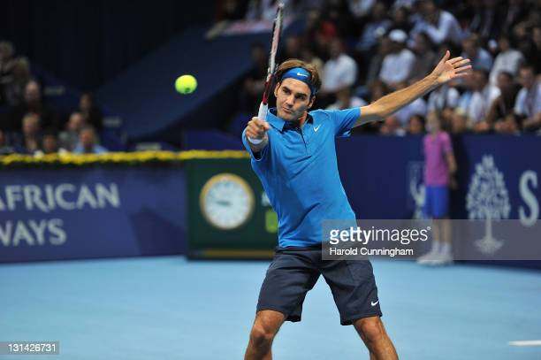Roger Federer of Switzerland in action during his quarter-final match against Andy Roddick of the United States during day five of the Swiss Indoors...