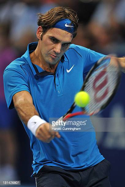 Roger Federer of Switzerland in action during his quarterfinal match against Andy Roddick of the United States during day five of the Swiss Indoors...