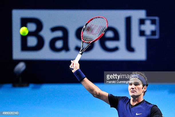 Roger Federer of Switzerland in action during the fifth day of the Swiss Indoors ATP 500 tennis tournament against David Goffin of Belgium at St...