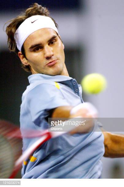 Roger Federer of Switzerland in action during the match against James Blake of the US in the 2006 Masters Cup tennis tournament played at the Qi...