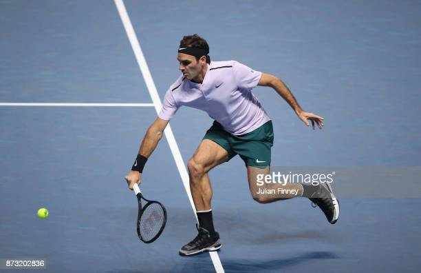 Roger Federer of Switzerland in action in his match against Jack Sock of USA during day one of the Nitto ATP World Tour Finals tennis at the O2 Arena...