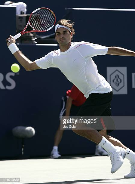 Roger Federer of Switzerland in action vs Richard Gasquet of France during the final of the Rogers Cup ATP Master Series tennis tournament at the...