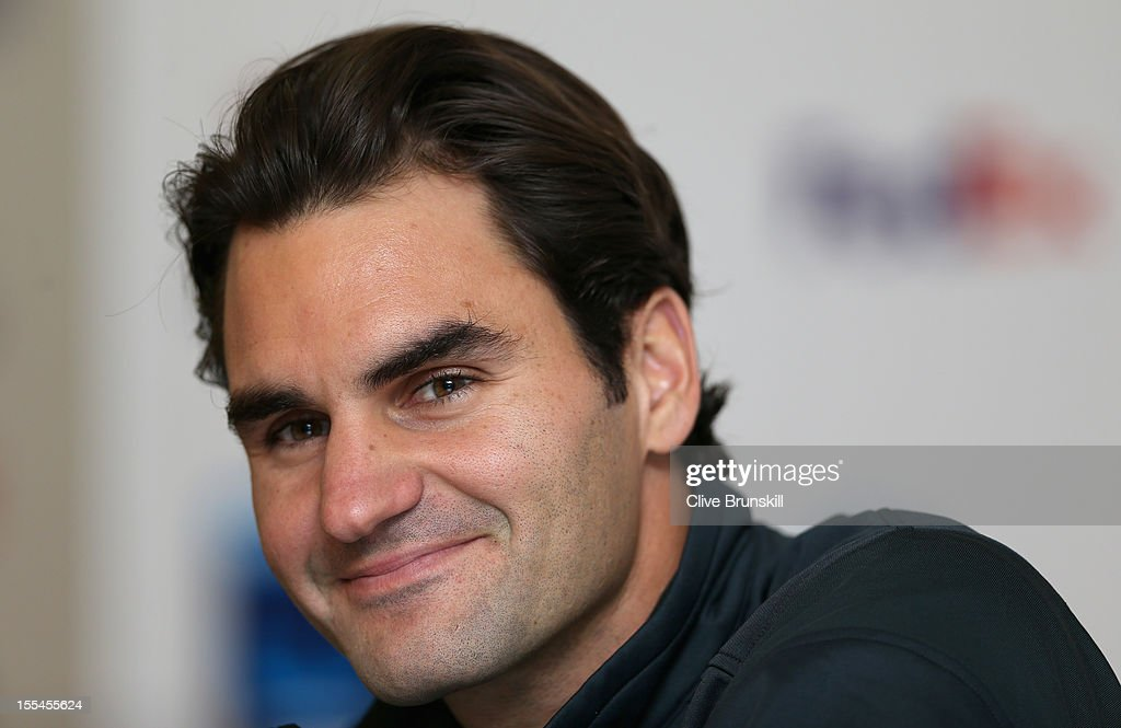 Roger Federer of Switzerland in good spirits as he talks to the media during a press conference prior to the start of ATP World Tour Finals Tennis at the O2 Arena on November 4, 2012 in London, England.