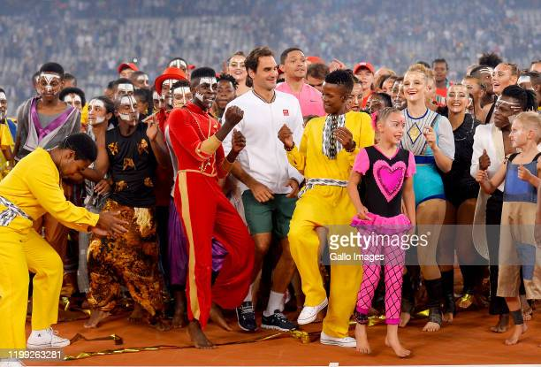 Roger Federer of Switzerland interacts after the Match in Africa between Roger Federer and Rafael Nadal at Cape Town Stadium on February 07 2020 in...