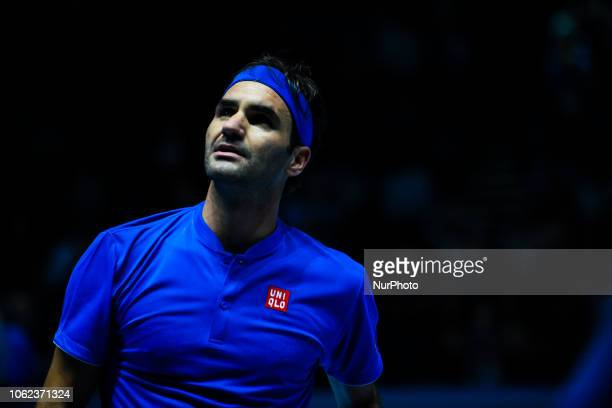 Roger Federer of Switzerland is pictured in action during his match against Kevin Anderson of South Africa on Day Five of the Nitto Atp World Tour...