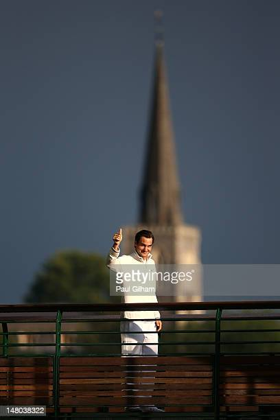 Roger Federer of Switzerland is seen after winning his Gentlemen's Singles final match against Andy Murray of Great Britain on day thirteen of the...