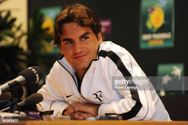 Roger Federer of Switzerland is seen during a press conference during the BNP Paribas Open at the Indian Wells Tennis Garden on March 11 2009 in...