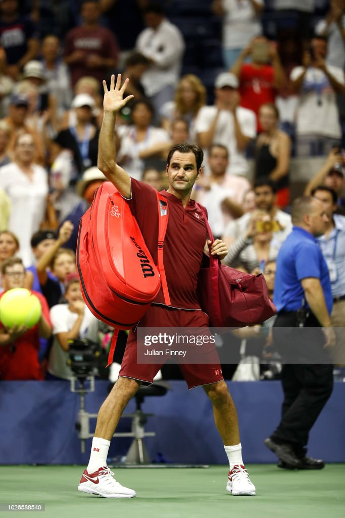 Roger Federer of Switzerland leaves the court following defeat during the men's singles fourth round match against John Milman of Australia on Day Eight of the 2018 US Open at the USTA Billie Jean King National Tennis Center on September 3, 2018 in the Flushing neighborhood of the Queens borough of New York City.