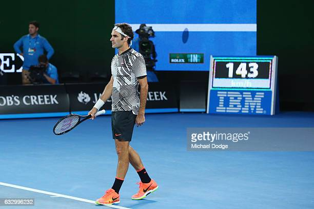 Roger Federer of Switzerland looks at a line call review in the dying stages before winning in the Men's Final match against Raphael Nadal of Spain...