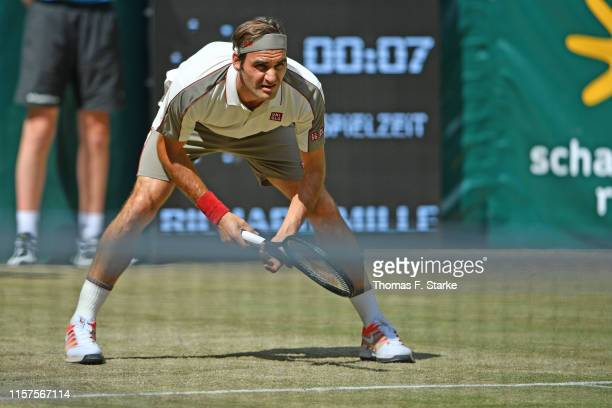 Roger Federer of Switzerland looks concentrated in his half final match against Pierre-Hugues Herbert of France during day 6 of the Noventi Open at...