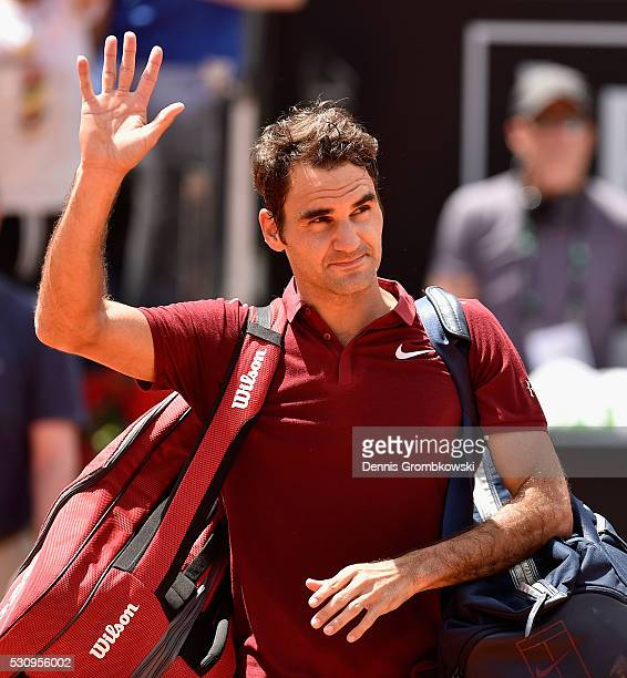 Roger Federer of Switzerland looks dejected after his match against Dominic Thiem of Austria on Day Five of The Internazionali BNL d'Italia on May 12...