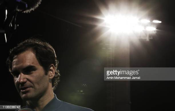 Roger Federer of Switzerland looks on after defeating Stefanos Tsitsipas of Greece in their final during day Fourteen of the Dubai Duty Free Tennis...