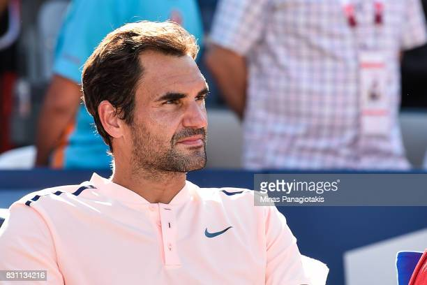 Roger Federer of Switzerland looks on after his 63 64 loss to Alexander Zverev of Germany in the final during day ten of the Rogers Cup presented by...