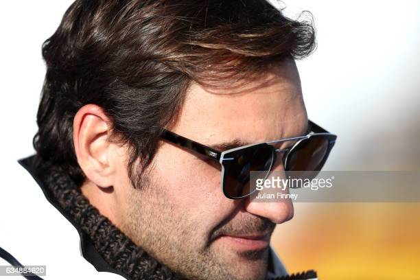 Roger Federer of Switzerland looks on after the Men's Downhill during the FIS Alpine World Ski Championships on February 12 2017 in St Moritz...