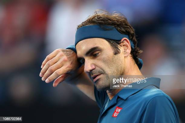 Roger Federer of Switzerland looks on in his fourth round match against Stefanos Tsitspas of Greece during day seven of the 2019 Australian Open at...
