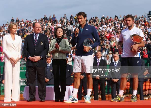 Roger Federer of Switzerland makes a speach as Stanislas Wawrinka of Switzerland Prince Albert II Princess Charlene and ElisabethAnne de Massy listen...