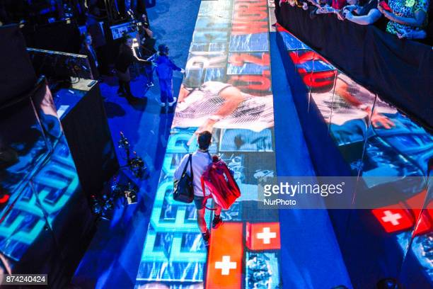 Roger Federer of Switzerland makes his way out onto court on day three of the Nitto ATP World Tour Finals at O2 Arena London on November 14 2017