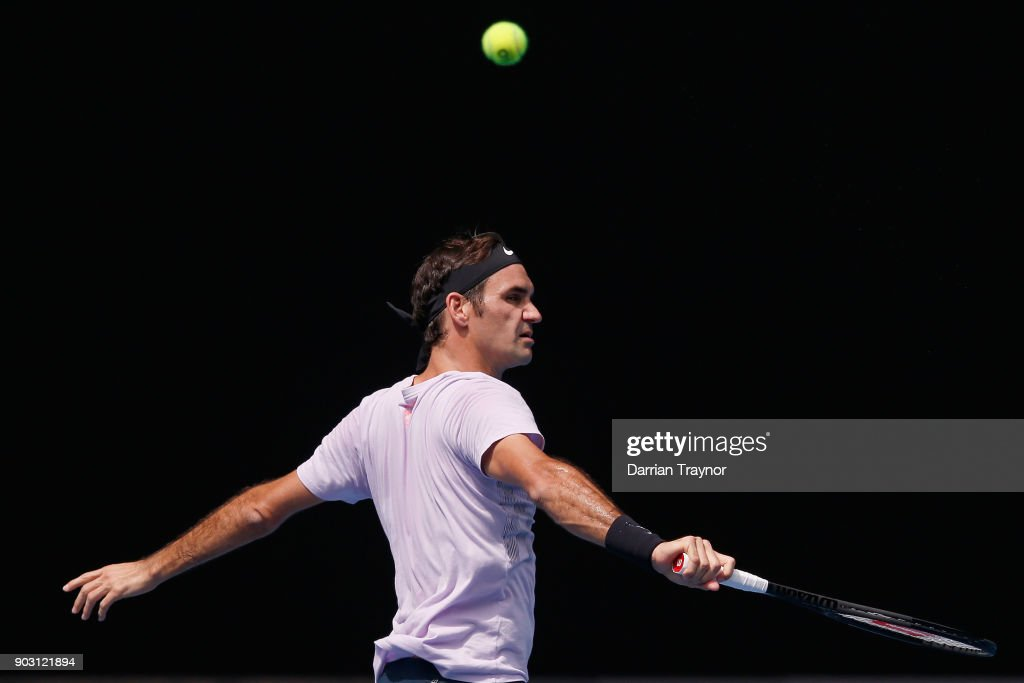 Roger Federer of Switzerland plays a backhand during a practice session ahead of the 2018 Australian Open at Melbourne Park on January 10, 2018 in Melbourne, Australia.