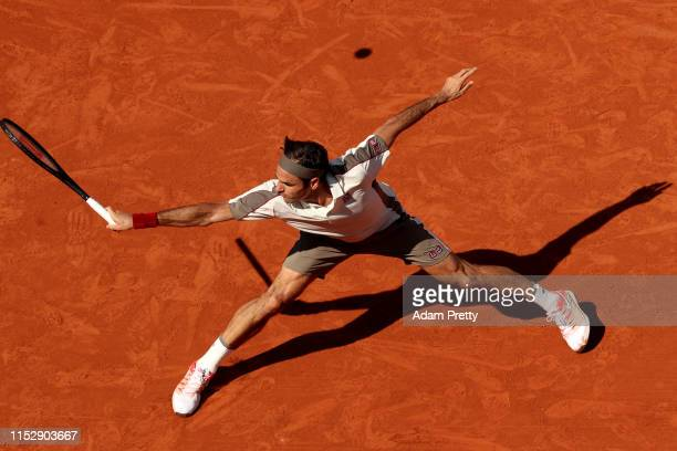 Roger Federer of Switzerland plays a backhand during his mens singles third round match against Casper Ruud of Norway during Day six of the 2019...
