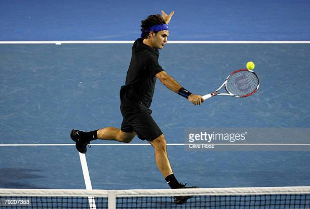 Roger Federer of Switzerland plays a backhand during his semifinal match against Novak Djokovic of Serbia on day twelve of the Australian Open 2008...