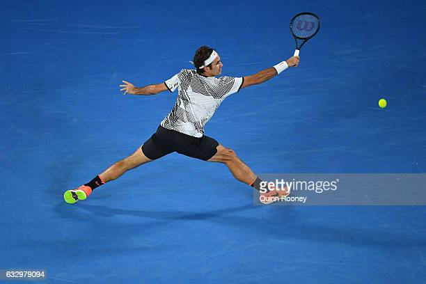 Roger Federer of Switzerland plays a backhand in his Men's Final match against Rafael Nadal of Spain on day 14 of the 2017 Australian Open at...