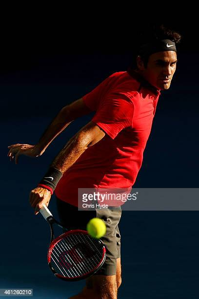 Roger Federer of Switzerland plays a backhand in the Men's semi final match against Grigor Dimitrov of Bulgaria during day seven of the 2015 Brisbane...