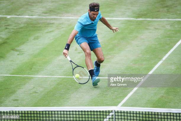 Roger Federer of Switzerland plays a backhand to Mischa Zverev of Germany during day 3 of the Mercedes Cup at Tennisclub Weissenhof on June 13 2018...