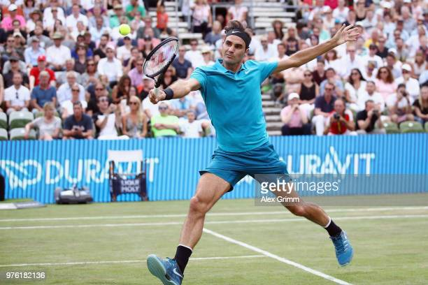 Roger Federer of Switzerland plays a backhand to Nick Kyrgios of Australia during day 6 of the Mercedes Cup at Tennisclub Weissenhof on June 16 2018...