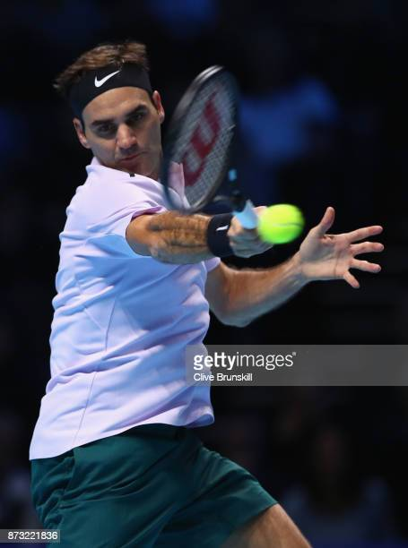 Roger Federer of Switzerland plays a forehand against Jack Sock of the United States during the Nitto ATP World Tour Finals at O2 Arena on November...