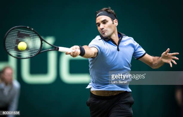 Roger Federer of Switzerland plays a forehand during his semi final match against Karen Khachanov of Russia during Day 8 of the Gerry Weber Open 2017...