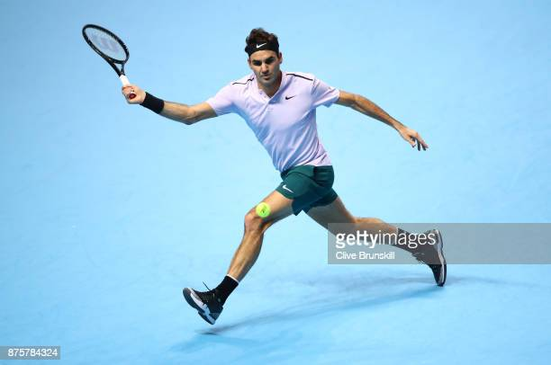 Roger Federer of Switzerland plays a forehand during his three set defeat by David Goffin of Belgium in their semi final match the Nitto ATP World...
