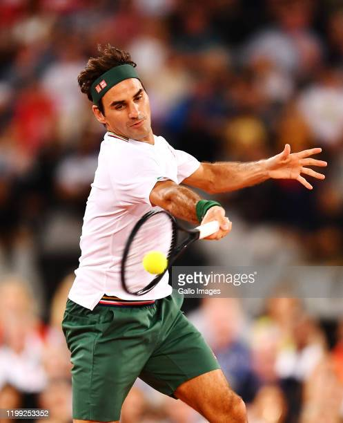 Roger Federer of Switzerland plays a forehand during the Match in Africa between Roger Federer and Rafael Nadal at Cape Town Stadium on February 07...