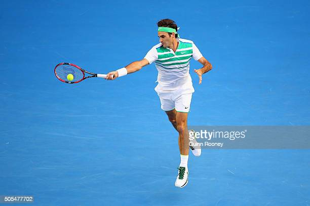 Roger Federer of Switzerland plays a forehand in his first round match against Nikoloz Basilashvili of Georgia during day one of the 2016 Australian...