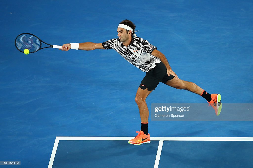 Roger Federer of Switzerland plays a forehand in his first round match against Jurgen Melzer of Austria on day one of the 2017 Australian Open at Melbourne Park on January 16, 2017 in Melbourne, Australia.