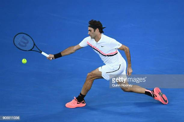 Roger Federer of Switzerland plays a forehand in his first round match against Aljaz Bedene of Slovenia on day two of the 2018 Australian Open at...