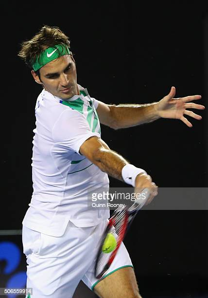 Roger Federer of Switzerland plays a forehand in his fourth round match against David Goffin of Belgium during day seven of the 2016 Australian Open...